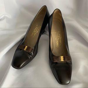 Salvatore Ferragamo Brown Leather Low Heels